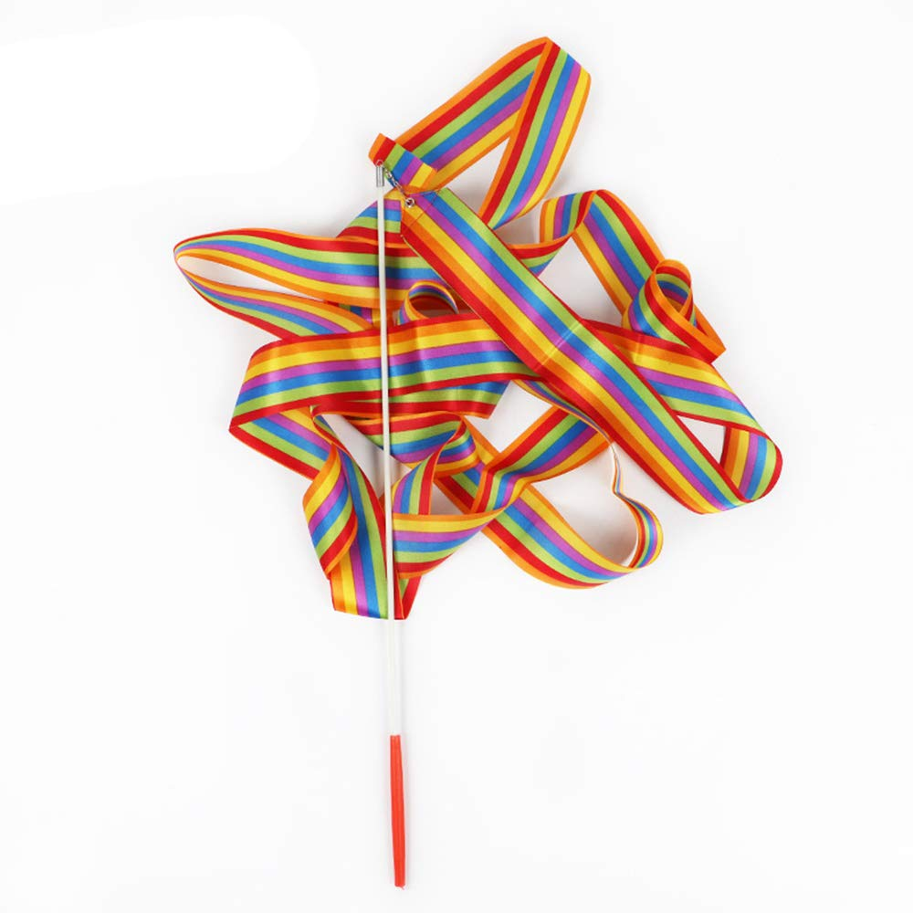 Tcplyn Beautiful Dance Ribbon Twirling Baton Rod Hand Held Dance Rainbow Ribbon for Gymnastics Training Recreational Activities 1PCS 4m