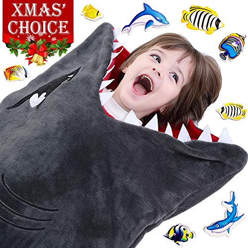 Cozy Shark Tails Blanket by CozyBomB for Kids - Smooth One Piece Blankie Design - Durable Seamless Snuggle Plush Throw - Enlarged Size Grey Sleeping Bag with Fin - Birthday For Boys and Girls for $<!--$33.98-->