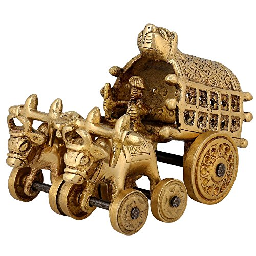 Village Bullock Cart Brass Sculpture Home Decor Handmade Indian Gift 5 Inch (Pier 1 Outdoor Furniture Sale)