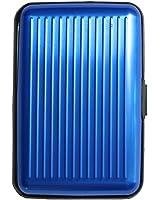 Shopping-et-Mode - Porte-cartes bleu rigide en plastique strié à multiples rangements - Bleu, Plastique