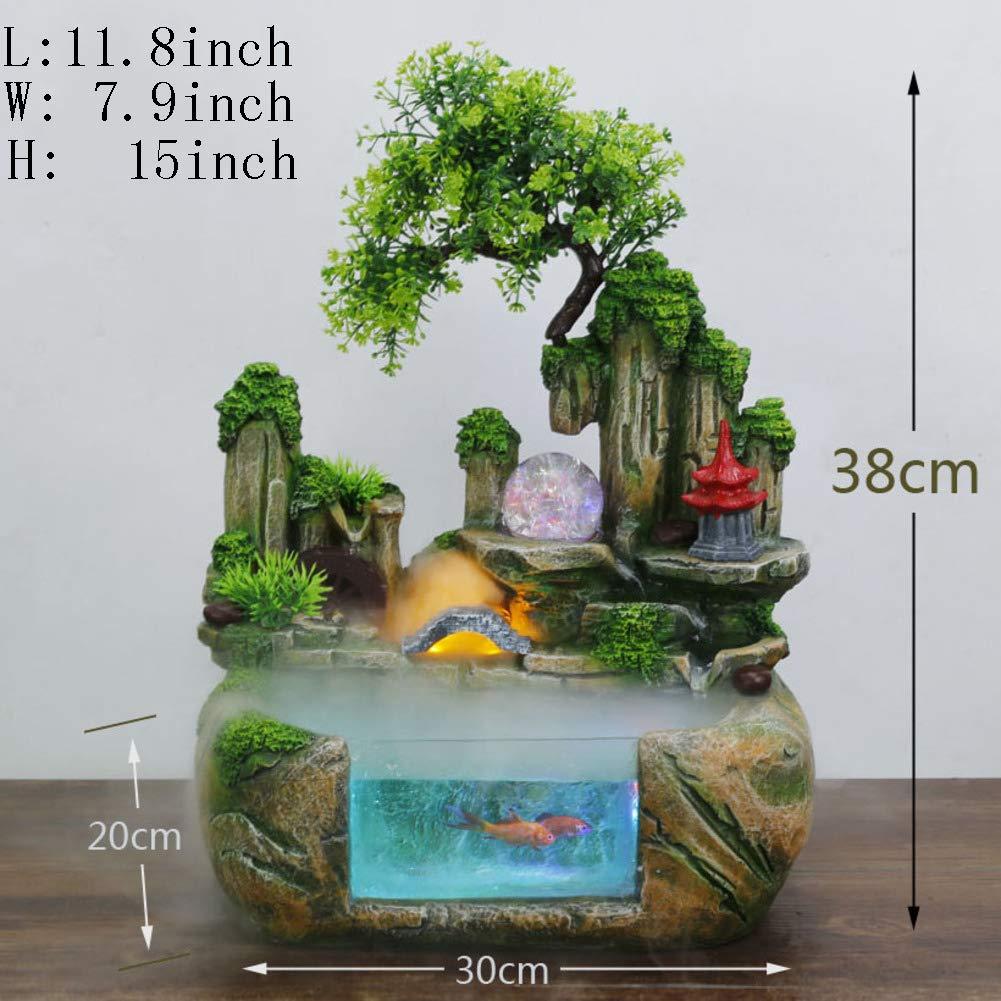 Decoration Crafts,Desktop Fountain Pendant Rockery Water Small Fish Tank Gift Decorations-Fish Tank B 11inch