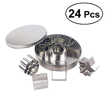BESTONZON - Juego de moldes para Galletas de Acero Inoxidable (24 Piezas): Amazon.es: Hogar