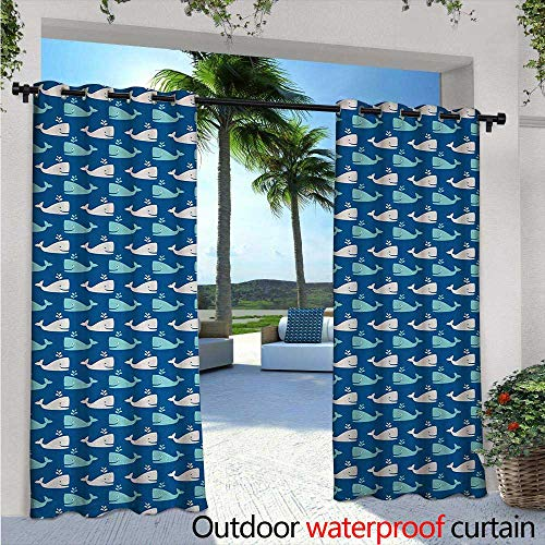 Whale Medallion - Whale Balcony Curtains W84 x L84 Bicolor Whales in The Sea in Cartoon Drawing Style Underwater Wildlife Outdoor Patio Curtains Waterproof with Grommets Navy Blue Aqua Beige