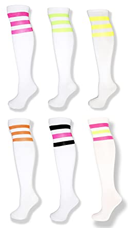 de4a8919fc2 Image Unavailable. Image not available for. Color  Neon 6 Pack -White Knee  High Tube Socks w Neon Stripes