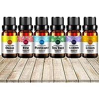 RAINBOW ABBY Essential Oil Set of 6 Premium Grade Oils (Tea tree Peppermint Lemon Lavender Sweet orange Rose)