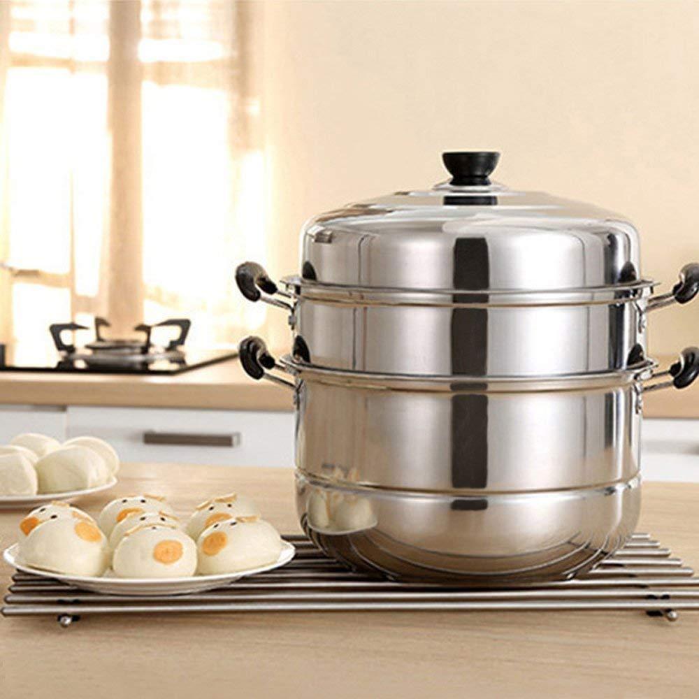 VONOTO Stainless steel Thicken Three floors 3 Tier 11'' Steamer Cookware Pot Sauce pot Multi-layer Boiler (Three Floors 11'')