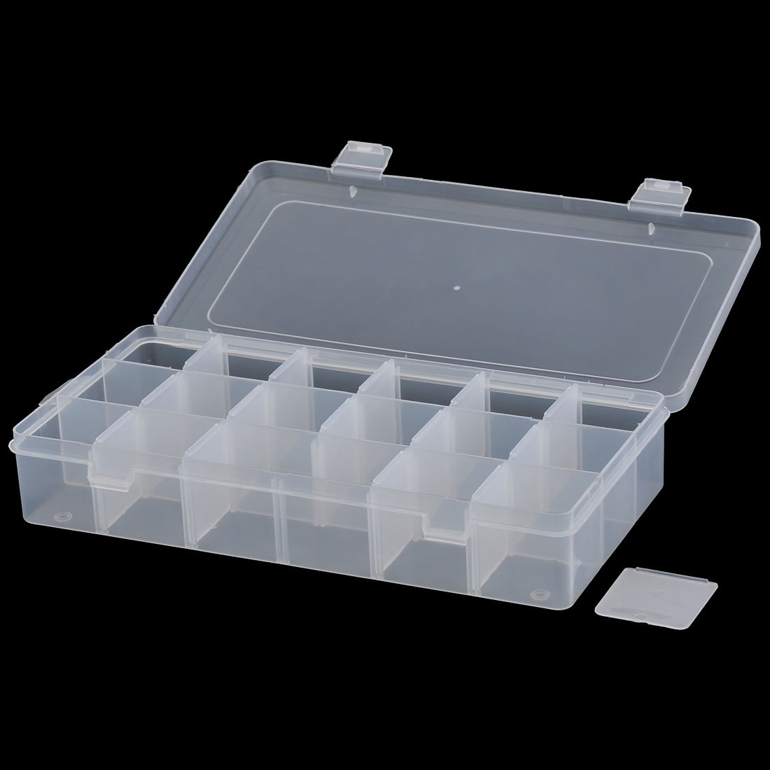 La Joyer/ía Pl/ástica De Rect/ángulo De 18 Compartimentos De Almacenamiento Ajustable Envase De Caso