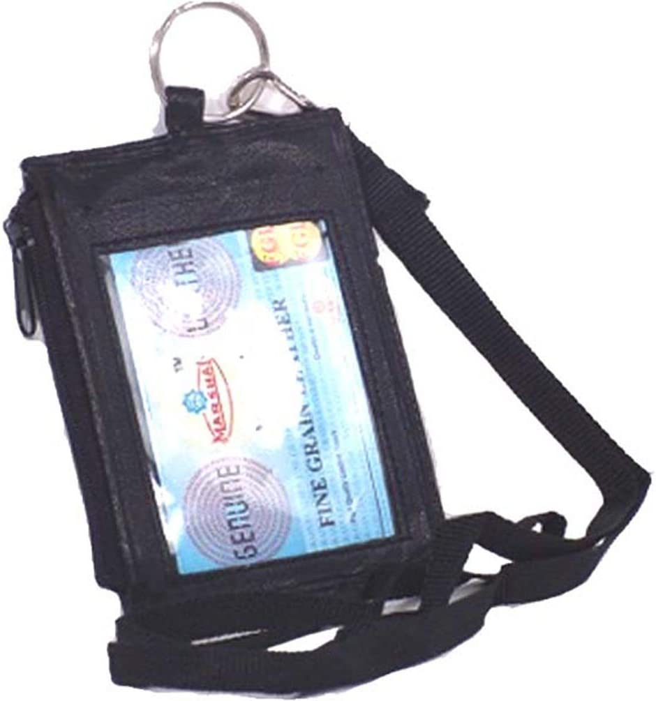 ID Card Holder Badge Passport card Press NameTag Pouch Leather W// Neck Strap Red