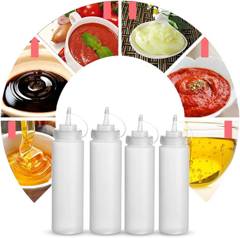 4 Pcs Squeeze Bottle with Lids with 2 Pcs Silicone Folding Funnel Tyelany Seasoning Squeeze Bottle Leak Proof Sauce Bottles for Mustard Hot Sauce Jam and Olive Oil 240ml, 360ml Condiment Bottles