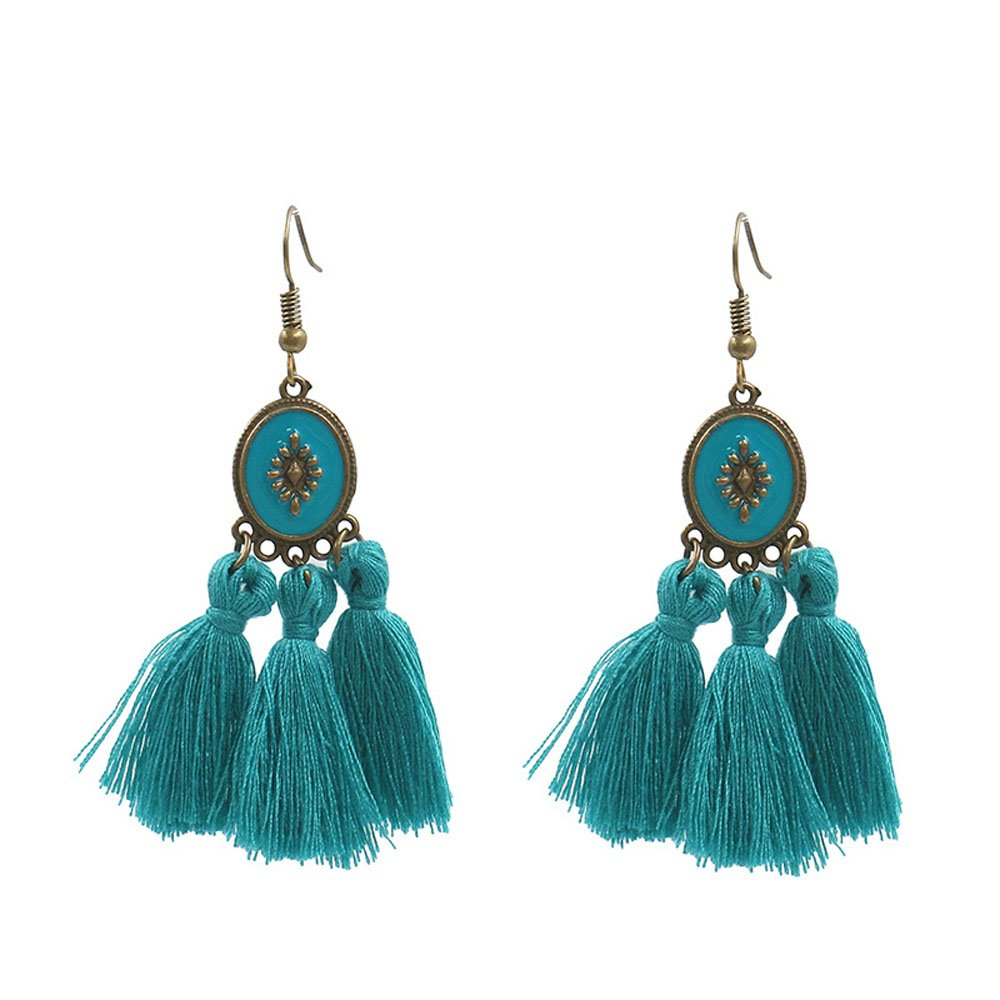 Bohemian Silk Fringe Earring Short Tassel Statement Earrings (Blue)