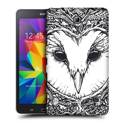 Head Case Designs Owl Doodle Animal Faces Protective Snap-on Hard Back Case Cover for Samsung Galaxy Tab 4 7.0 T230 T231 T235