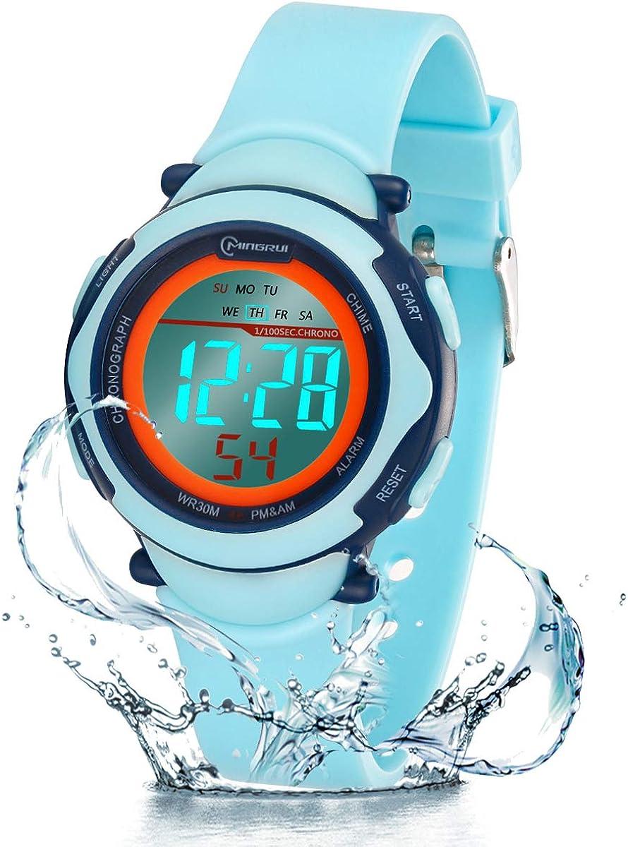 Relojes Infantiles para niños, Reloj Deportivo Digital al Aire Libre a Prueba de Agua con Alarma/Cronómetro, Resistencia al Agua Reloj Infantil Aprendizaje para Niños