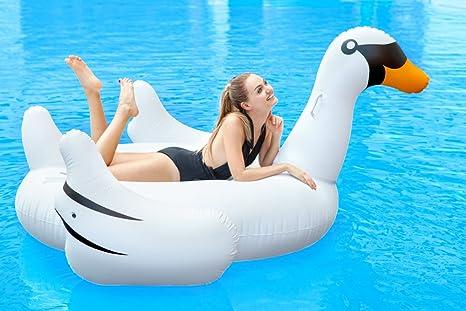 Bramble Cisne Blanco Hinchable de Gran Tamaño. Colchoneta Divertida, Ideal para la Playa y