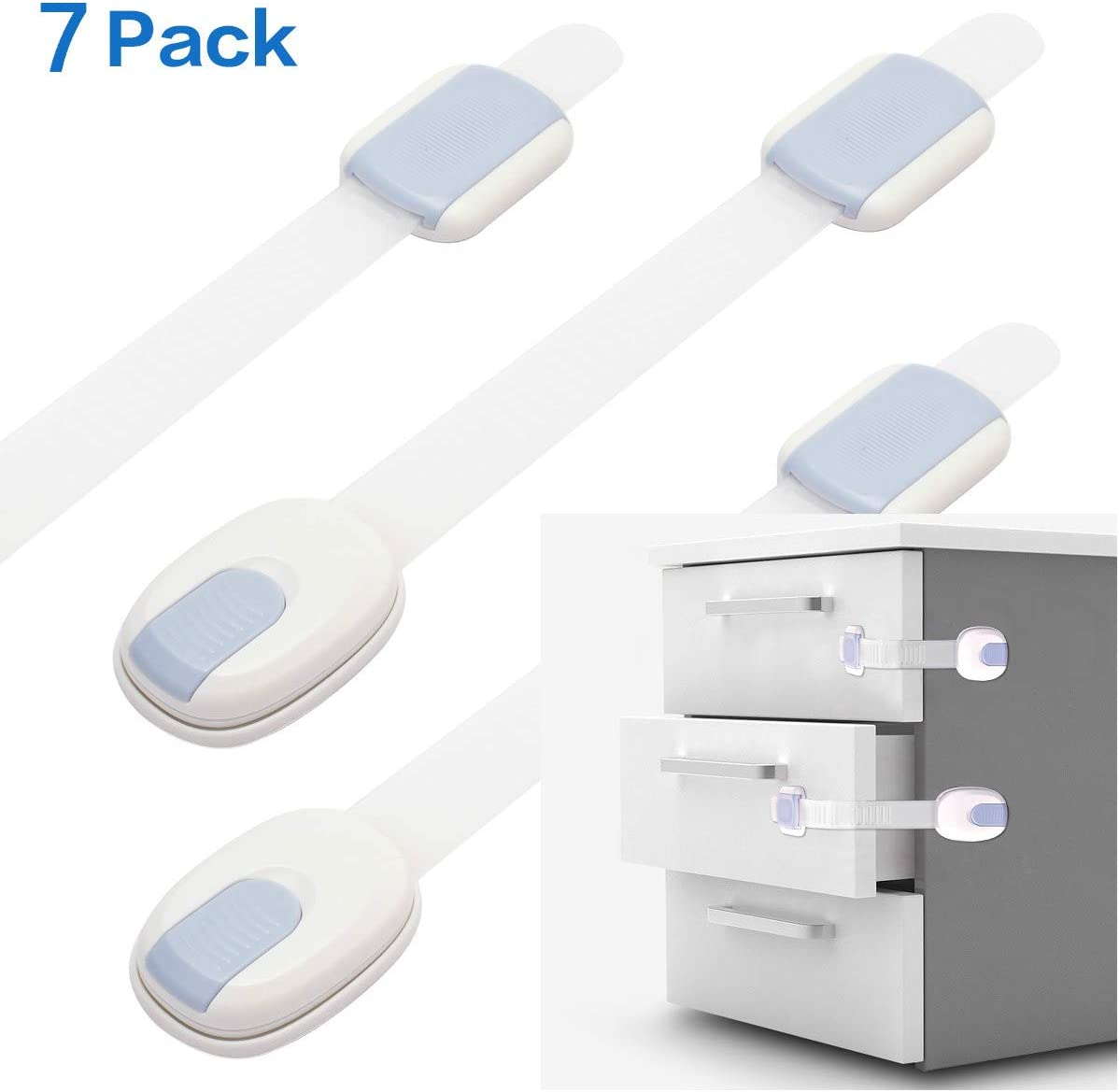 7pcs Child Safety Cupboard Locks with Adhesive Baby Cupboard Safety Locks for Drawers,Cabinets,Appliances,Doors,Toilet Seats and Fridges Child Safety Locks
