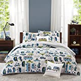 un 4 Piece Adorable Aqua Blue Green Grey White Full Queen Coverlet Set, Vehicle Themed Bedding Colorful Fun Cute Cars Road Novelty Vans Trailer Moped Motorcycle Boys Teen Kids, Cotton
