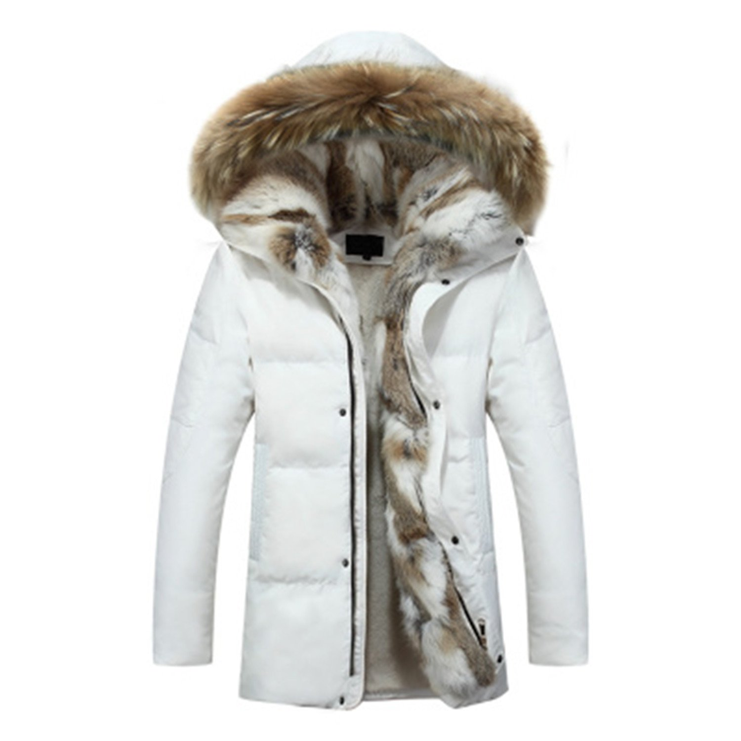 Also Easy Men's and Women's Leisure Down Jacket Thick Hood Detached Warm Waterproof Big Raccoon Fur Collar For -30 degrees White L