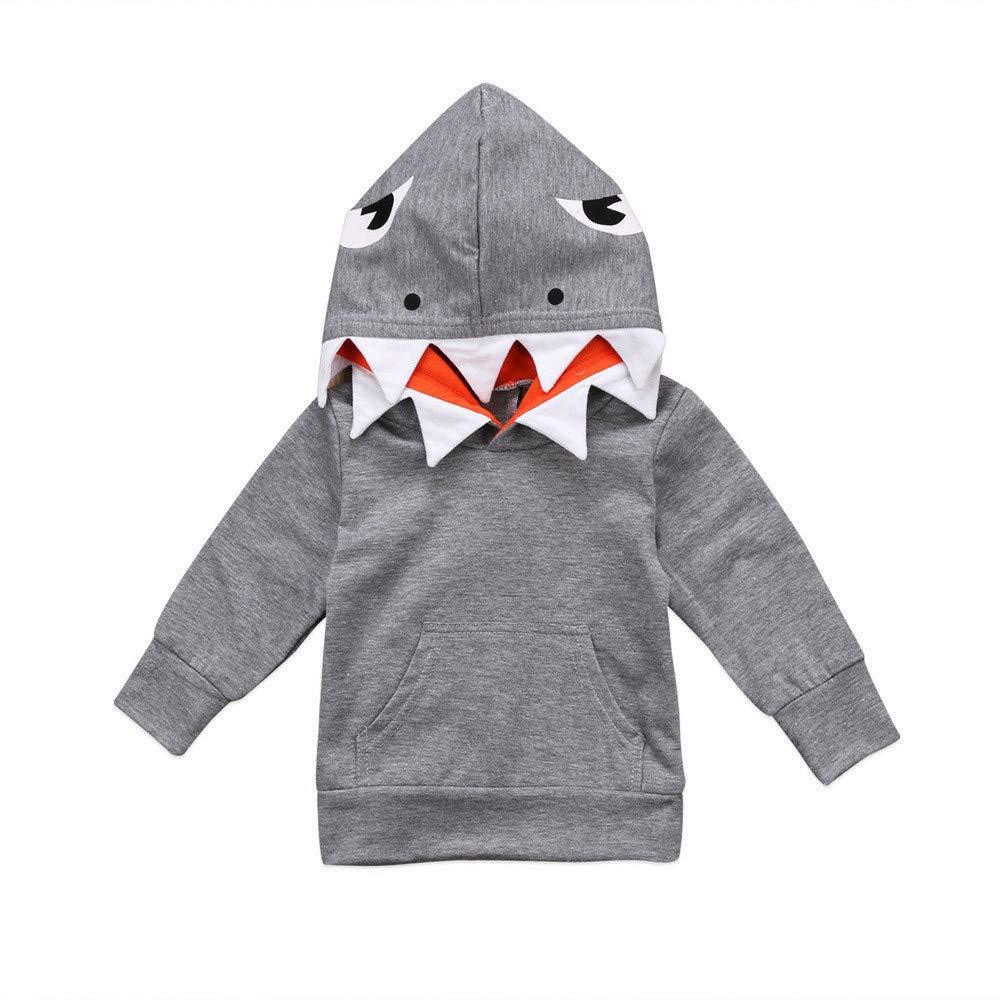 LIKESIDE Toddler Baby Kids Boys Girls Long Sleeves Cartoon Shark Hooded Top