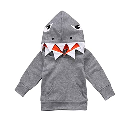 3b7010c66dd1 Voberry Unisex Baby Autumn Winter Shark Hooded Sweatshirt Pants Leggings  Trousers Outfits Infant Boys Girls Hoodies with Kangaroo Muff Pockets   Shark Fin