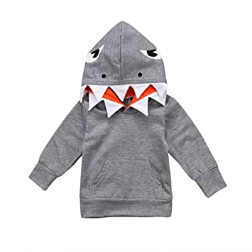 Coper Fashion Outfits, Toddler Baby Boys Girls Long Sleeves Cartoon Shark Hooded Tops Shirt (