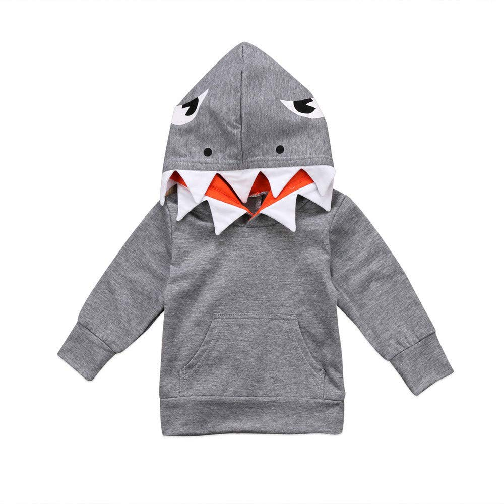LIKESIDE Toddler Baby Kids Boys Girls Long Sleeves Cartoon Shark Hooded Top Clothing