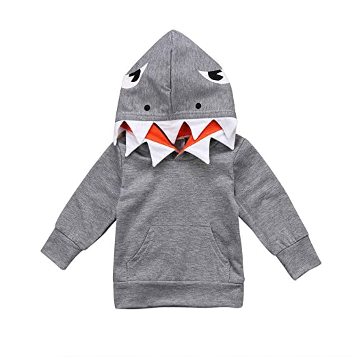 SUNBIBE👻Little Baby Boys Toddlers Cartoon Shark Long Sleeve Pullover Hoodie Sweatshirt Top with Pocket