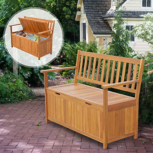 "Price comparison product image Multi-Purpose Tool Studio Storehouse Seating 47"" Natural Wooden Outdside Chest Storage Bench Country Vintage Style 47.25"" Lx23.5 Wx34.25 H Patio 2-Person Chair Dou Seat Deck Box"