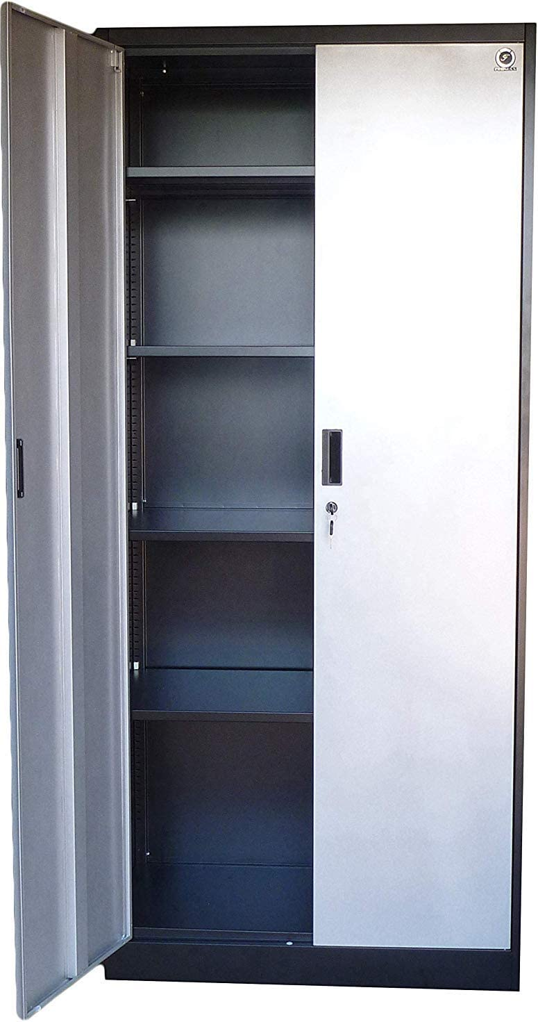 "Storage Cabinets with Doors and Shelves - 30"" Tall, Lockable Metal Cabinet,  30 Adjustable Shelves for Tools - Sturdy Utility Locker for Garage, Kitchen"