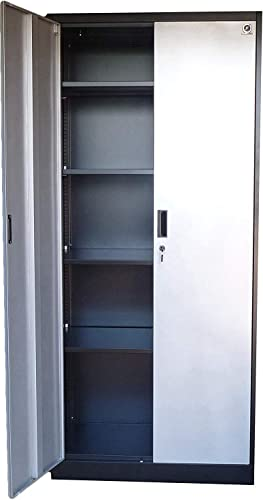 Storage Cabinets with Doors and Shelves – 71 Tall, Lockable Metal Cabinet, 5 Adjustable Shelves for Tools – Sturdy Utility Locker for Garage, Kitchen Pantry, Office, Patio Silver Doors