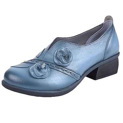Socofy Damen Pumps, Damen Leder Slipper Mokassins Blume Loafers Metallic  Ballerinas Vintage Halbschuhe Slip- ff6a228718