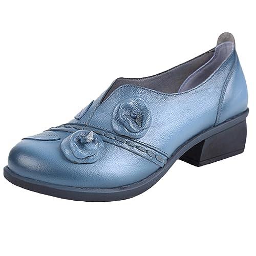 Socofy Mocasines de charol para mujer, color Azul, talla 37