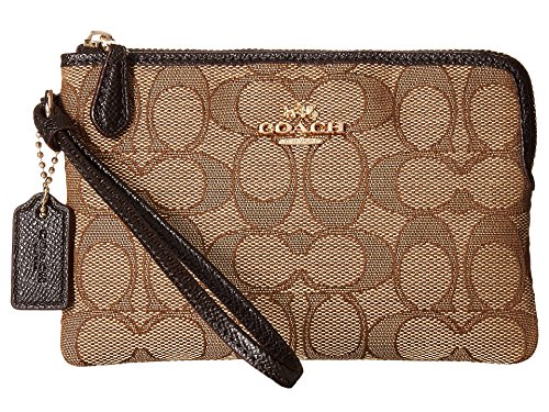 - COACH Women's Box Program Signature Jacquard Small Wristlet Li/Khaki/Brown One Size