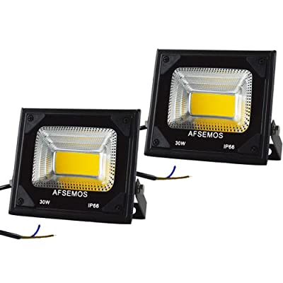 AFSEMOS 30W Outdoor LED Low Voltage Warm White Floodlight, 12V DC Outdoor LED Security Flood Light, IP66 Waterproof Super Bright Work Light for Backyard, Lawn, Street Guardrail (2 Pack): Home Improvement
