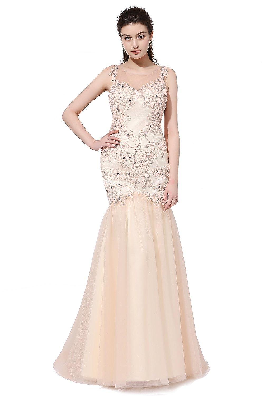 Champagne SDRESS Women's Rhinestones Lace Appliques Sleeveless Crewneck Mermaid Prom Dress