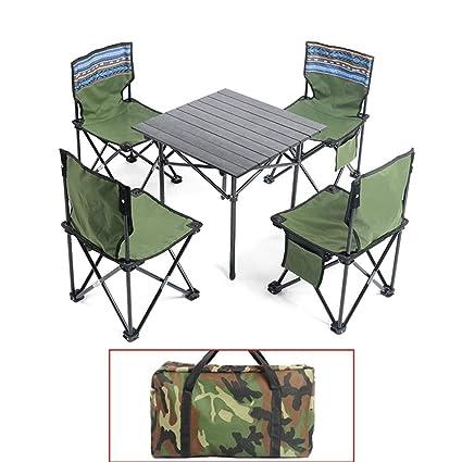 KXBYMX Mesa y Silla de Camping Mesa Plegable al Aire Libre y Juego ...