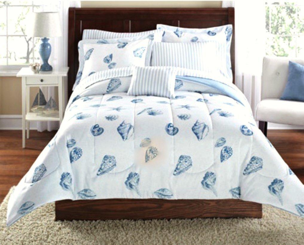貝殻、ビーチテーマ、Nautical Twin Comforter Set ( 6 Pieceベッドバッグ) B073TP8W8F