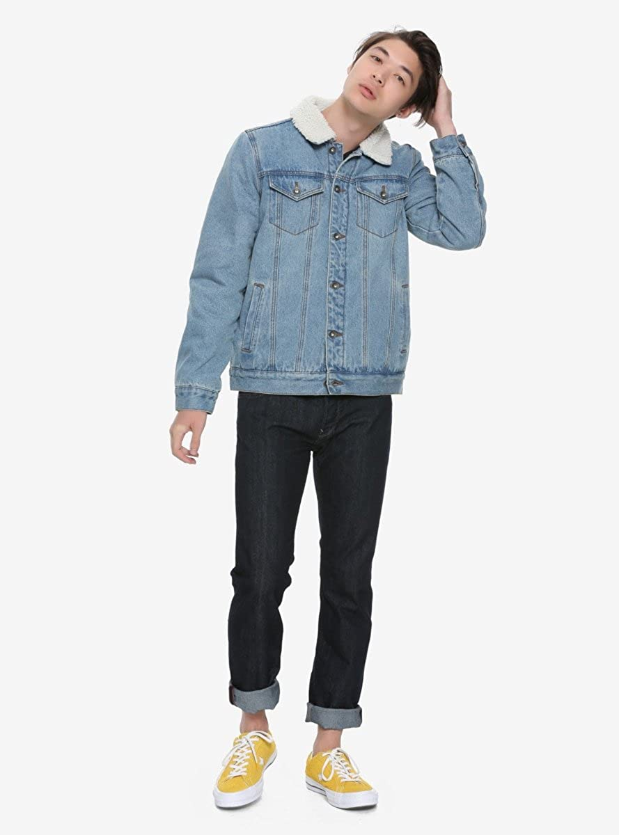 49098af7630 XXX RUDE Sherpa Collar Lined Light Denim Jacket  Amazon.ca  Clothing    Accessories