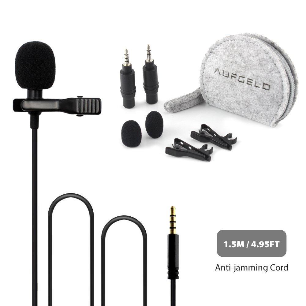 Professional Best Small Lavalier Lapel Microphone for Apple Mac Macbook iPhone iPad iPod Android Samsung Windows Smartphones Laptop PC Clip On Interview Vlog Noise Cancelling Mic Vloggers (LM-03G) 3.5