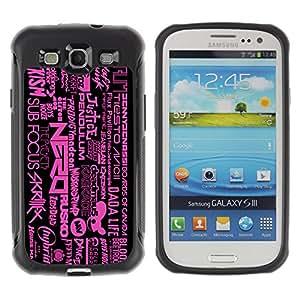 ZAKO Cases / Samsung Galaxy S3 I9300 / Dubstep DnB Music Pattern / Robusto Prueba de choques Caso Billetera cubierta Shell Armor Funda Case Cover Slim Armor