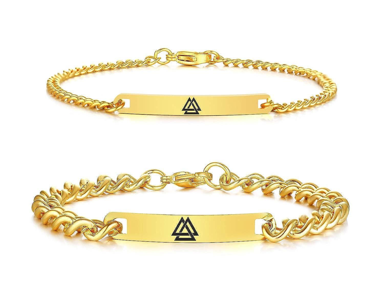 VNOX Viking Jewelry Valknut Symbol of Odin 7MM//4MM Stainless Steel ID Tag Link Bracelet for Men Women