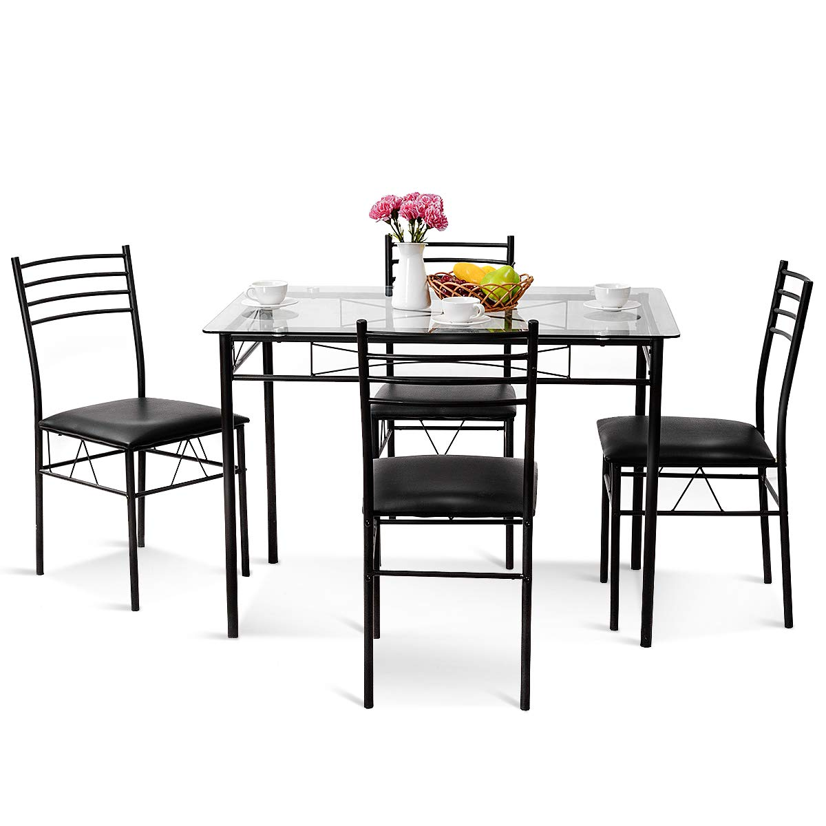 Tangkula Dining Table Set 5 Piece Home Kitchen Dining Room Tempered Glass Top Table and Chairs Breaksfast Furniture, Black