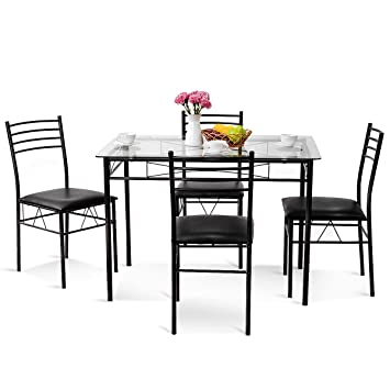 Amazoncom Tangkula Dining Table Set 5 Piece Home Kitchen Dining - Glass-topped-dining-room-tables