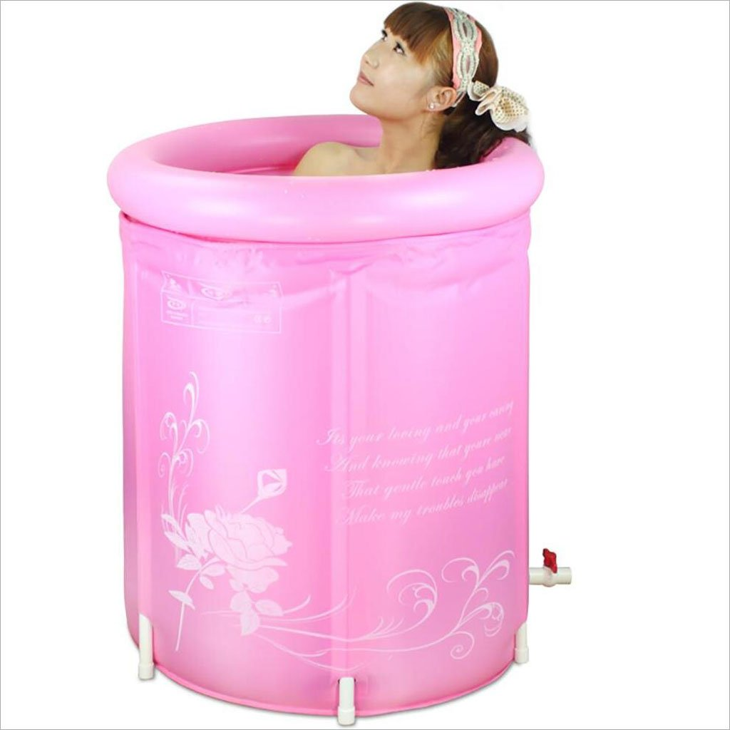 L&Y Bathtub Inflatable Baths Environmentally Friendly Folding Bathtubs Adult Bathtub Bathtub Bath Barrel Bath Barrel Pink