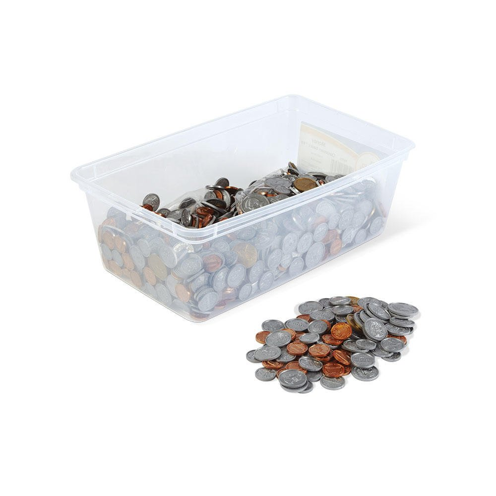 hand2mind Play Money Plastic Coins with Plastic Storage Bin (Pack of 768) by hand2mind
