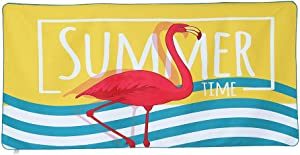 Inshere Sand Free Microfiber Beach Towel, Quick Dry Super Absorbent Ultra Lightweight Compact, Perfect for Outdoor/Camping/Yoga/Gym, Ideal Travel Bath Towels Cute Flamingo