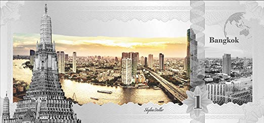 Toronto Silver Note .999 Fine 2017 5 Gram Cook Islands Skyline Foil Note $1