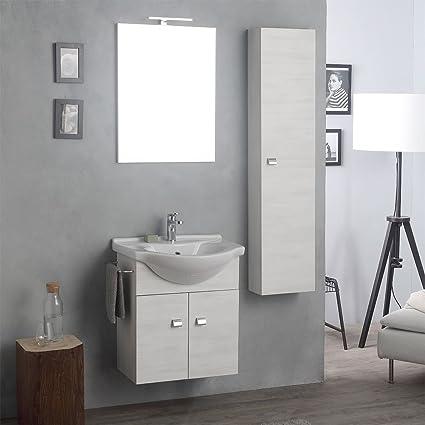 Arredo Bagno Classico Sospeso.Arredo Bagno Sospeso Con Mobile Specchio E Colonna Rovere Bianco
