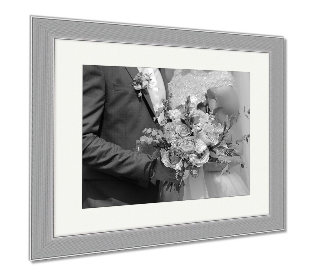 Ashley Framed Prints Beautiful Bridal Bouquet In Hands Of The Bride Wedding Bouquet Of Peach Roses, Wall Art Home Decoration, Black/White, 30x35 (frame size), Silver Frame, AG6322081