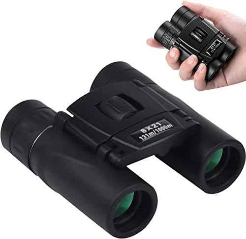 Asobilor 8×21 Mini Lightweight Binocular Compact Folding HD Binoculars Low Light Night Vision with Fully Green Coated Lens for Concert Theater Opera Hiking Travel Trip Bird Watching Sport Arena Use