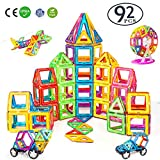 DARVIQS 92 Piece Magnetic Blocks, Magnetic Building Tiles Set, Creativity STEM Toy for Preschool Toddlers, Kids, Girls, Boys
