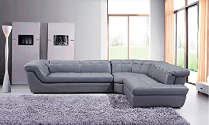 Amazon.com: 397 Modern Grey Italian Leather Sectional Sofa with ...